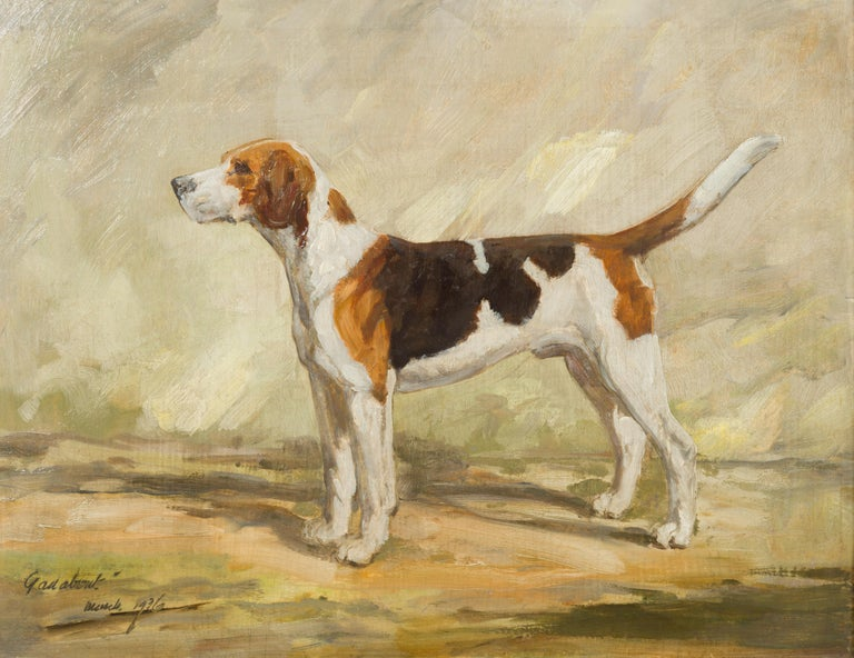 20th Century English Oil on Board Signed Painting of a Hound in a Landscape Titled
