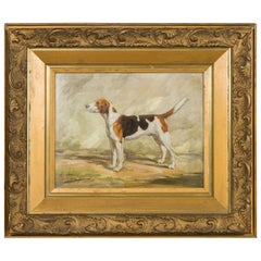 """English Oil on Board Signed Painting of a Hound in a Landscape Titled """"Gadabout"""""""