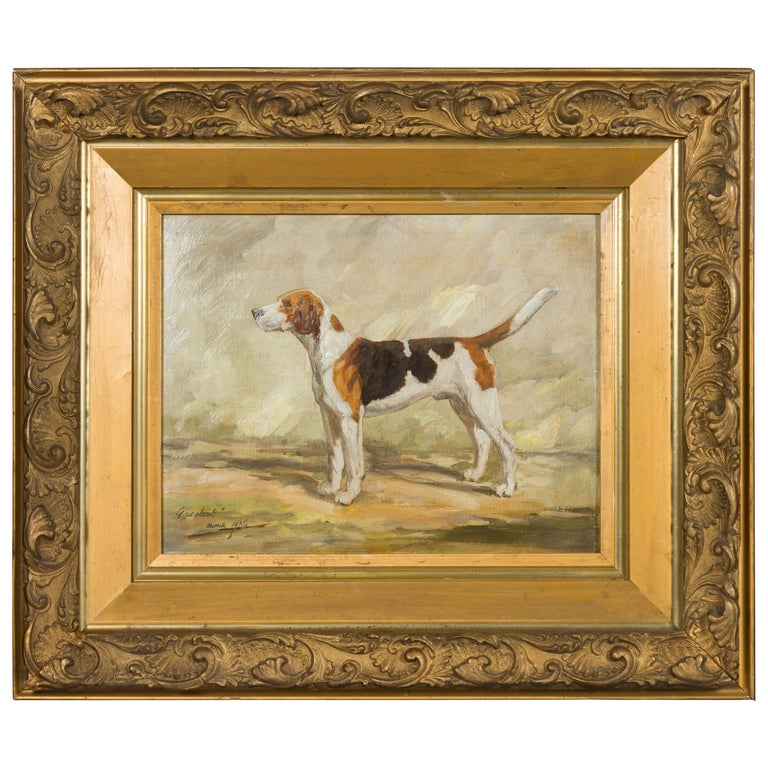 """English Oil on Board Signed Painting of a Hound in a Landscape Titled """"Gadabout"""" For Sale"""