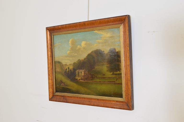 English Oil on Canvas, Bucolic Scene of Country House, signed H.L. Pratt, 1854 In Good Condition For Sale In Atlanta, GA