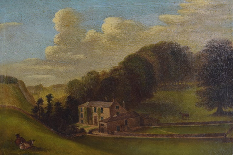 Paint English Oil on Canvas, Bucolic Scene of Country House, signed H.L. Pratt, 1854 For Sale