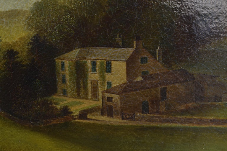 English Oil on Canvas, Bucolic Scene of Country House, signed H.L. Pratt, 1854 For Sale 1