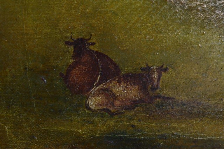 English Oil on Canvas, Bucolic Scene of Country House, signed H.L. Pratt, 1854 For Sale 3