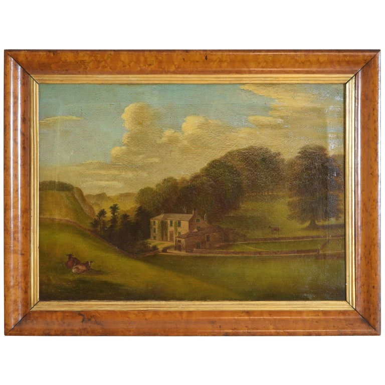 English Oil on Canvas, Bucolic Scene of Country House, signed H.L. Pratt, 1854 For Sale