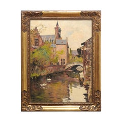 English Oil on Canvas Painting in Carved Frame Depicting a Serene Town Scene
