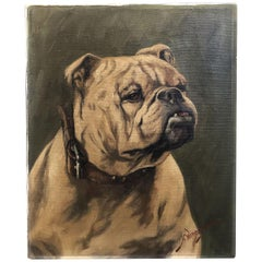 English Oil on Canvas Painting of a Bulldog by H. Wernegreen