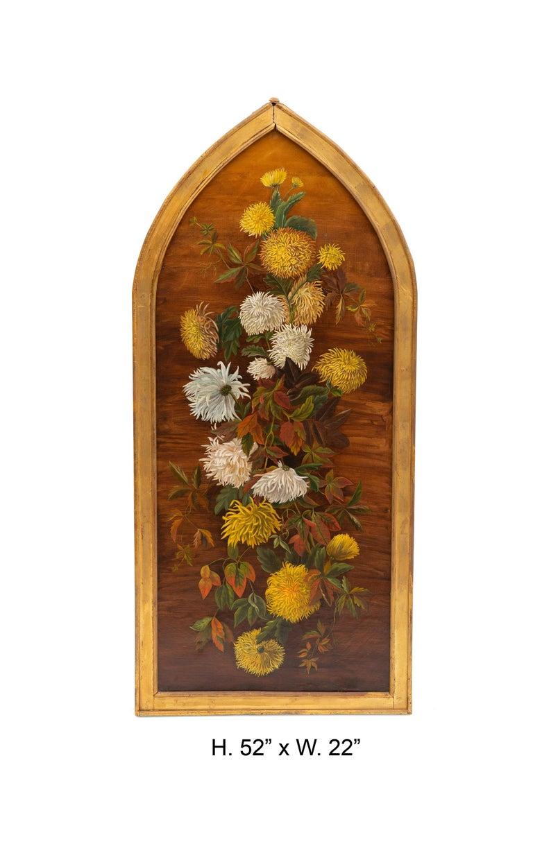 Attractive late 19th century English oil on canvas still life of chrysanthemums in unique giltwood frame