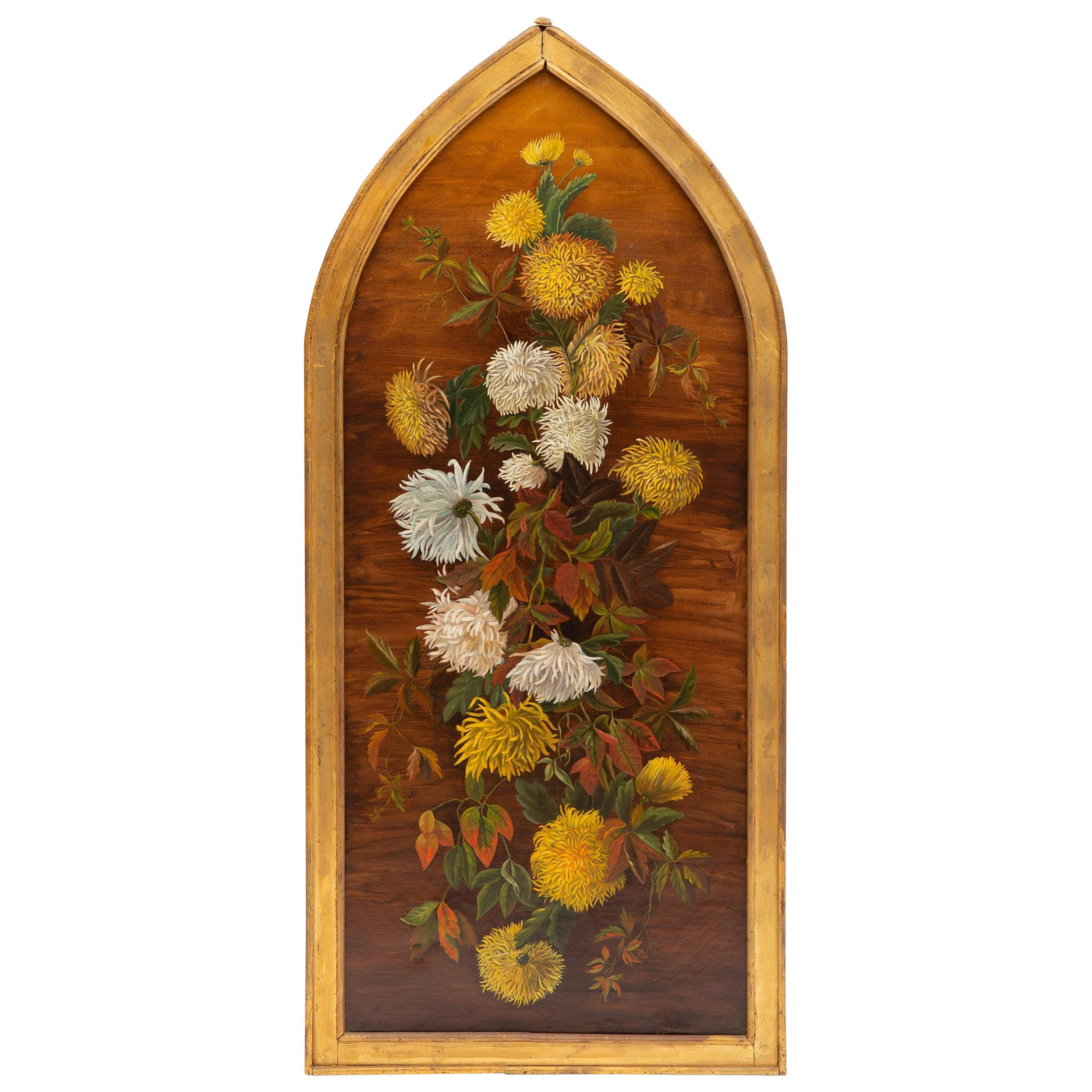 English Oil on Canvas Still Life of Flowers Framed, 19th Century