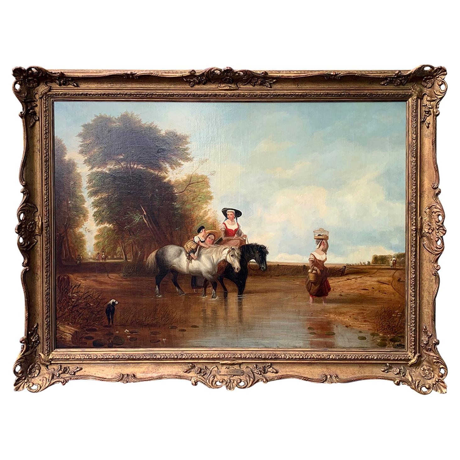 "English Oil Painting after Augustus Callcott's Original ""Returning From Market"""