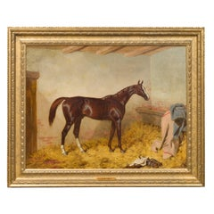 English Oil Painting Attributed to Harry Hall Depicting Racehorse St Albans