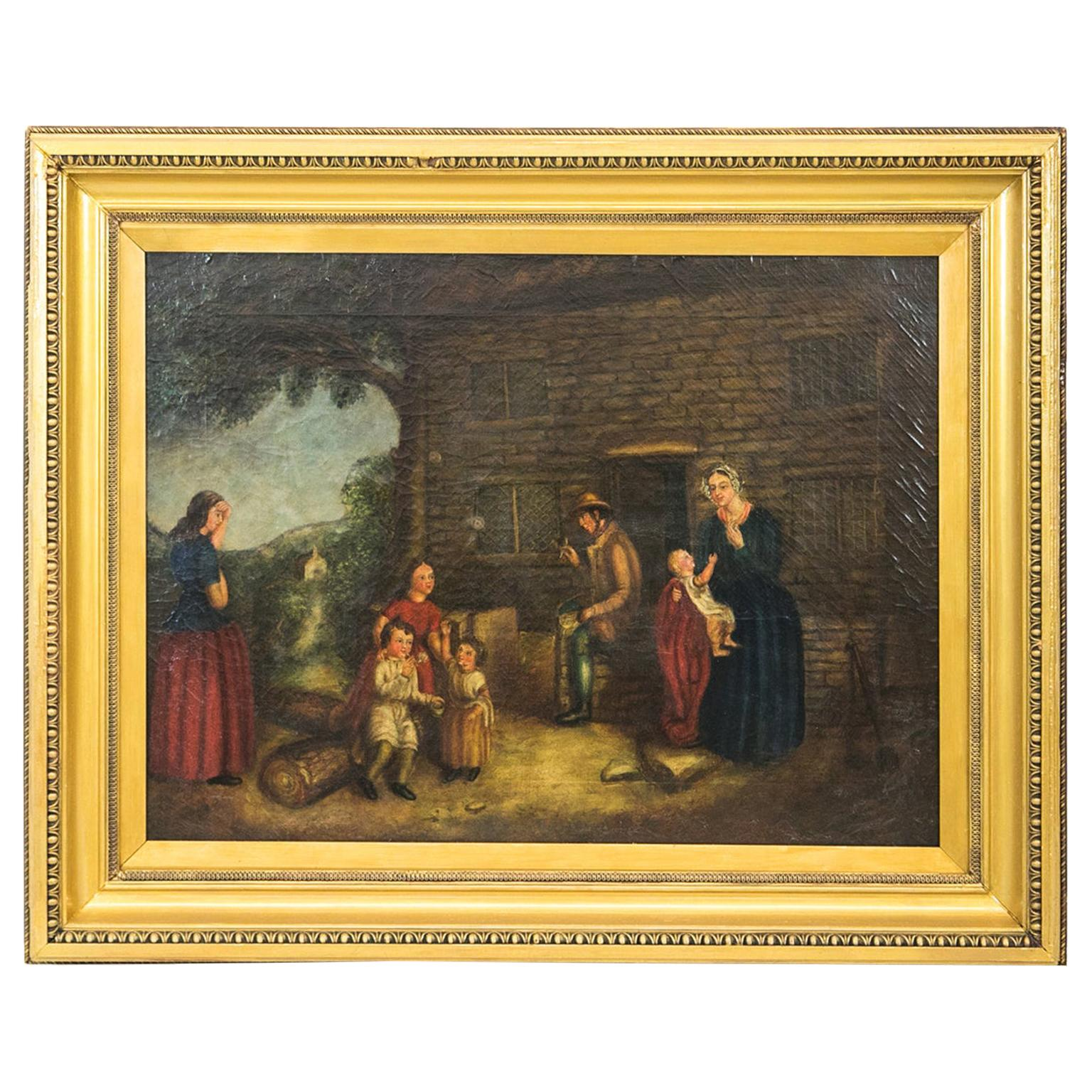 English Oil Painting Genre Scene