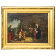 English Oil Painting Genre Scene