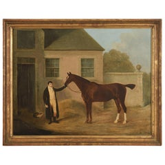 English Oil Painting of Horse and Groom Attributed to Ben Marshall, circa 1805