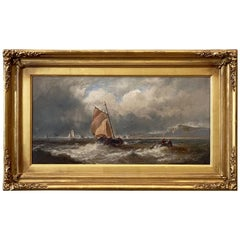 English Oil Painting Seascape or Ocean Scene with Ship in Gilt Frame