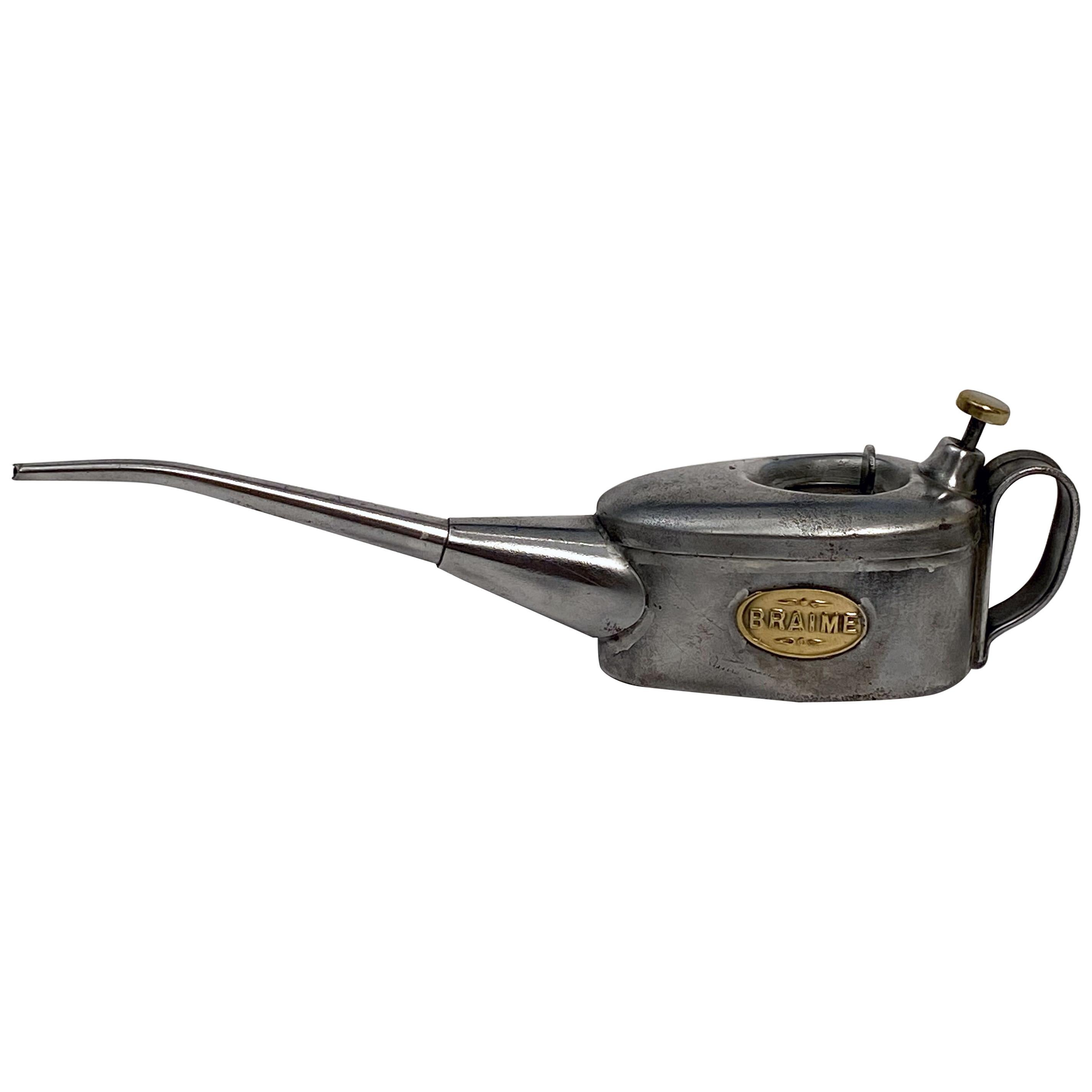English Oilcan or Cannister of Steel and Brass by Braime