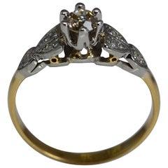 GIA Old European Cut Brown Diamond Platinum/18 Karat Gold Ring of English Origin