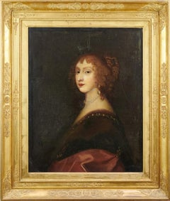 Fine 1700's English Old Master Oil Portrait of Aristocratic Lady with Pearls