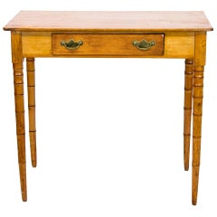 English One-Drawer Pine Faux Bamboo Side Table