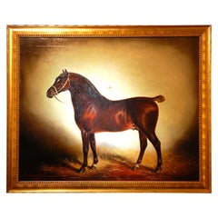 "English Original Lynwood Palmer Oil Painting on Canvas ""Portrait of a Horse"""
