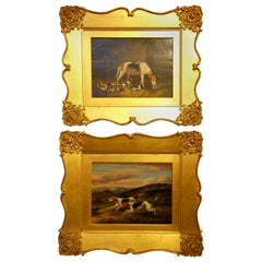 English Original Samuel Raven Pair of Hound Dog Oil Paintings in Original Frames
