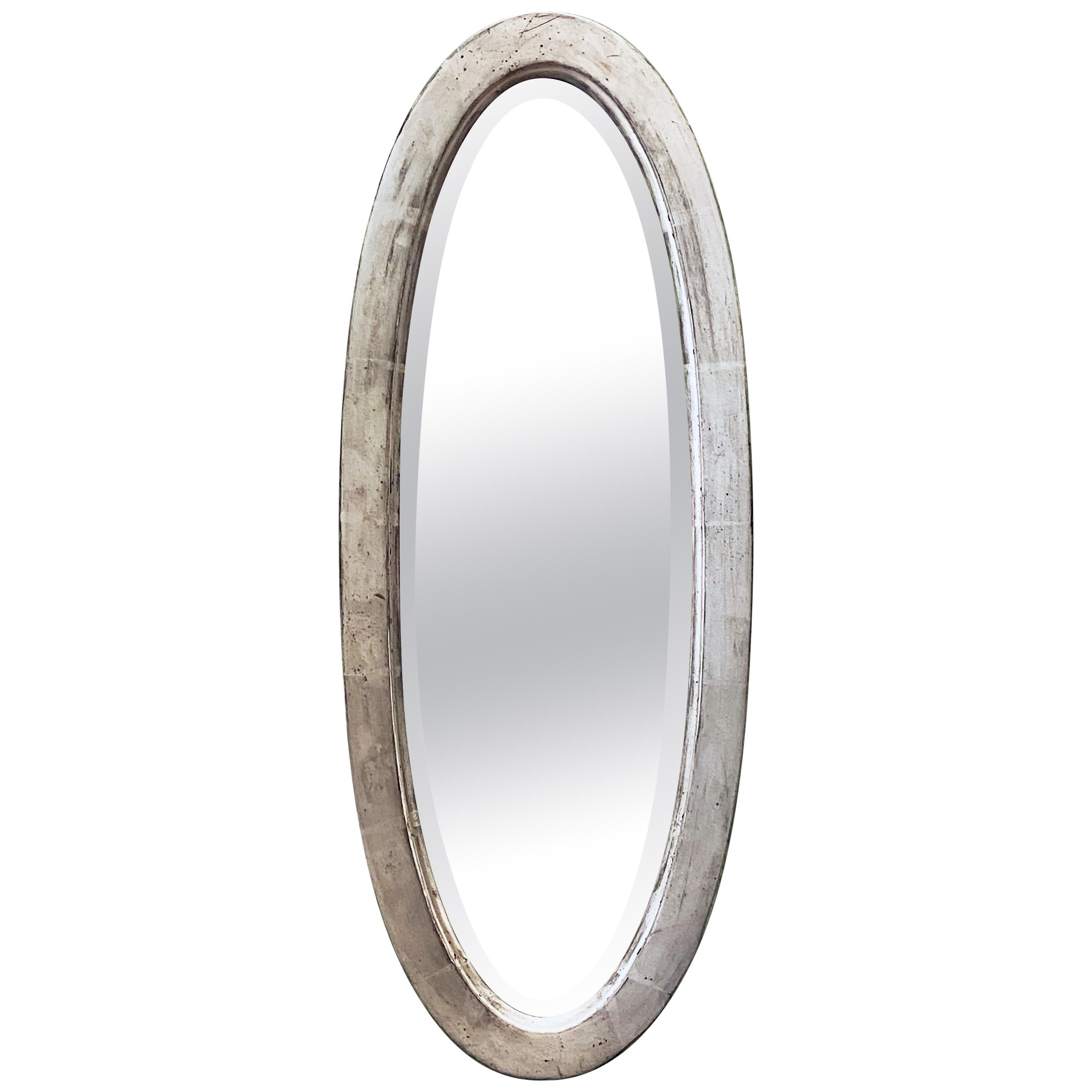 English Oval Beveled Alcove Mirror with Silver Gilt Frame