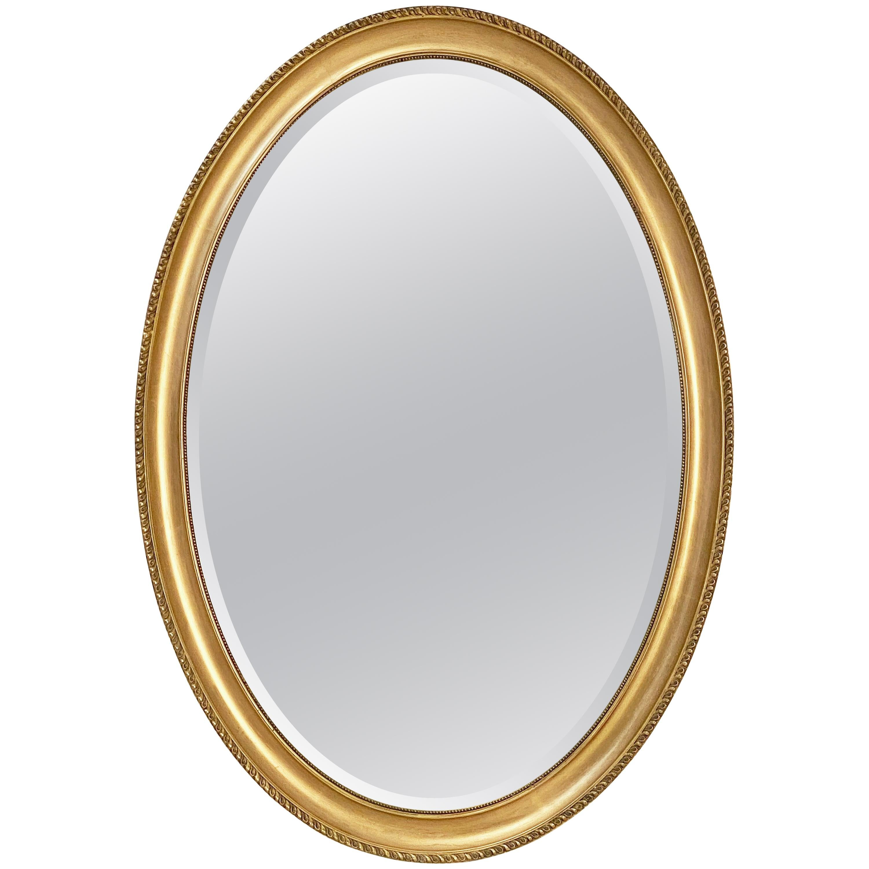 English Oval Beveled Mirror in Gilt Frame