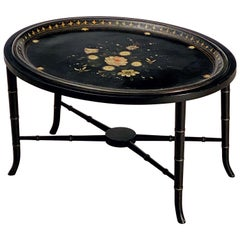 English Oval Low Table with Tray of Lacquered Papier Mâché 'Tray on Stand'
