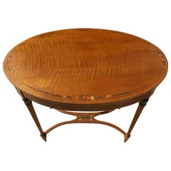 English Oval Solid Tiger Maple Library Table /Desk with Hand Painted Details