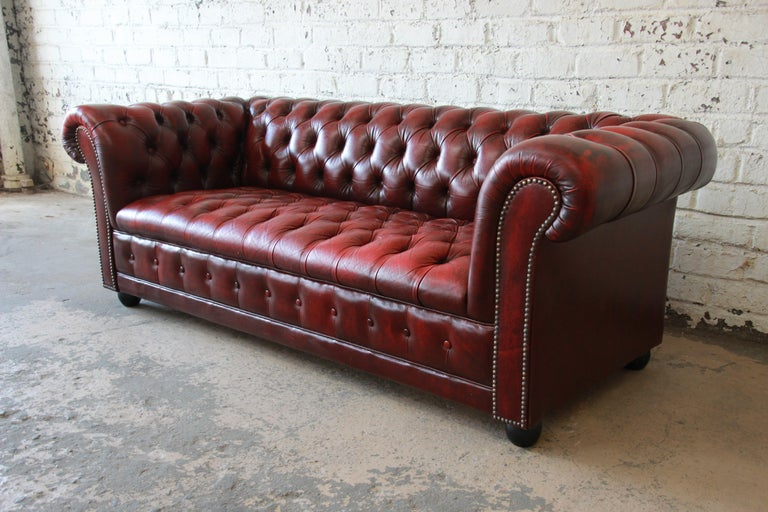 A Gorgeous Vintage English Tufted Oxblood Red Leather Chesterfield Style Sofa The Features Soft