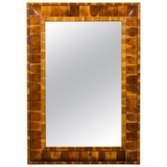 English Oyster Veneer Wooden Mirror from the 20th Century, with Clear Plate