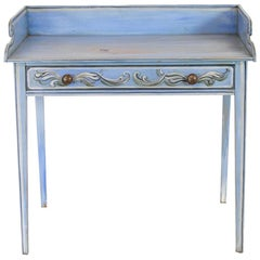 English Painted Blue Side Table