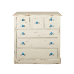 English Painted Chest of Drawers with Blue Knobs