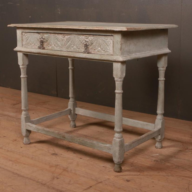 Small 18th century English painted 1 drawer lamp table, 1780  Dimensions: 32 inches (81 cms) wide 20.5 inches (52 cms) deep 28 inches (71 cms) high.