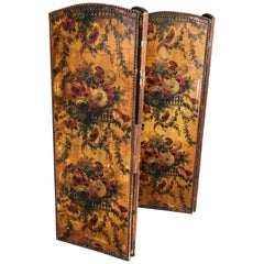 English Painted Screen with Bird and Flower Motif