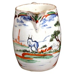 English Painted Small Creamware Pottery Jug, circa 1765-1775