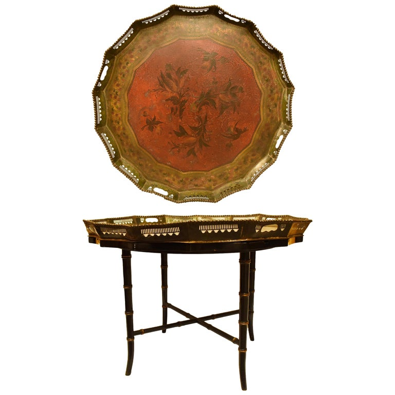 English Painted Tole Tray Table, 19th Century For Sale