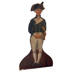 English Painted Wood Dummy Board Depicting a Royal Navy Lieutenant