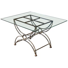 English Painted Wrought Iron and Glass Coffee, Side Table