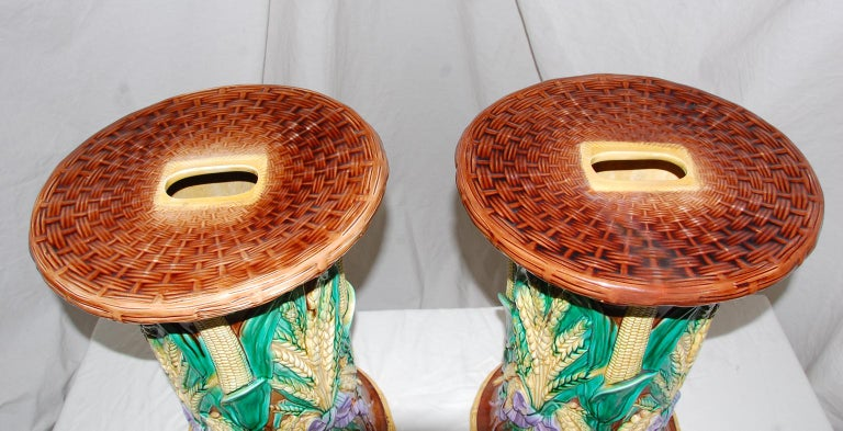 English Pair of 19th Century Majolica Garden Seats by John Adams In Good Condition For Sale In Wells, ME