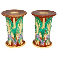 English Pair of 19th Century Majolica Garden Seats by John Adams