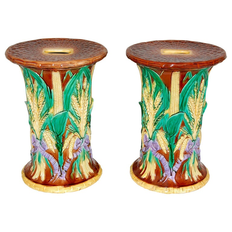 English Pair of 19th Century Majolica Garden Seats by John Adams For Sale