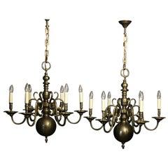 English Pair of 6-Light Bronze Antique Chandeliers
