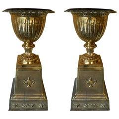 English Pair of Brass Campana Urns on Pedestals, Late 19th Century