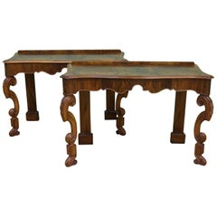 English Pair of Burr Walnut Console Tables