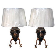 English Pair of Georgian Style Chinoiserie Tole Urns, Made into Lamps