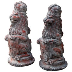 English Pair of Terracotta Rampant Lions with Crown, Shield and Coat of Arms