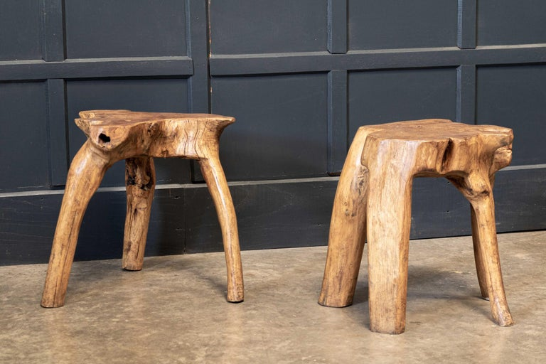 British English Pair Primitive Teak Root Side End Tables For Sale