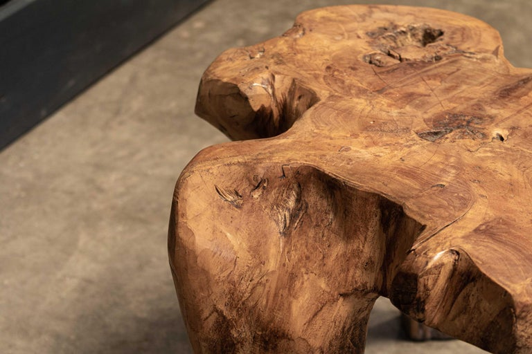 English Pair Primitive Teak Root Side End Tables In Good Condition For Sale In Harrogate, GB