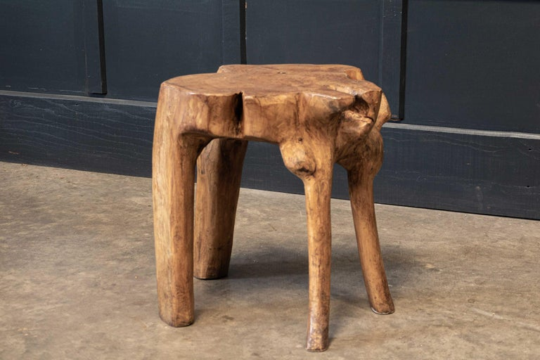 20th Century English Pair Primitive Teak Root Side End Tables For Sale