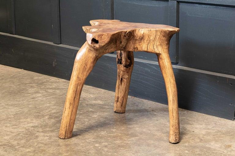 English Pair Primitive Teak Root Side End Tables For Sale 3